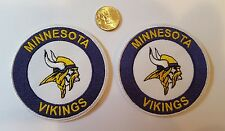 """(2) Minnesota Vikings  vintage Embroidered Iron on  Patch Lot  Patches  3"""" x 3"""