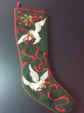 "Christmas Needlepoint Stocking 22"" Doves White Birds Ribbon 100% Wool Red Green"