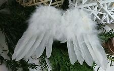 Ali d'angelo in Piume Decorazione Di Natale bianco Shabby Chic NUOVO 22x17cm