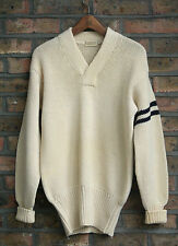 VTG 50s W.A.HENRY INC WHITE KNIT WOOL UNIVERSITY VARSITY SWEATER COLLEGE USA M/L
