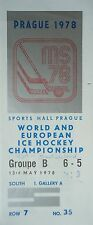 TICKET Eishockey WM 13.5.1978 USA - Deutschland in Prag