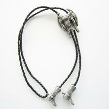 "RODEO HORSE SADDLE BOOT COWBOY ""PURE SILVER PLATING""  WESTERN BOLO TIE"