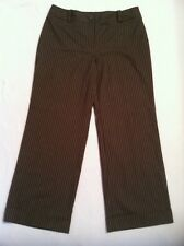 Talbots Pants Size 12 P Petite Short Brown Pinstripe Cuffed Dress Slacks Womens
