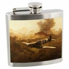 RAF Royal Air Force Stainless Steel 5 oz Hip Flask -Spitfire In The Clouds Sepia