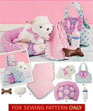 SEWING PATTERN! MAKE STUFFED CLOTH DOG~PUPPY & CLOTHES~BED~CARRIER!  KIDS TOY!