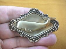 b-whal-2) Sperm Whale ocean scrolled brass pin pendant love watching whales pod