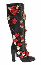NEW DOLCE & GABBANA Boots Shoes Roses Crystal Gold Heart Leather EU40 / US9