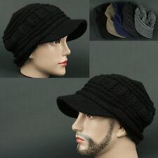 Visor Beanie VCT BLACK Cadet Skull Knit Cap Hat Ear wamer EarFlap
