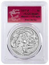 2017-P Australia $1 1 oz. Silver Dragon & Phoenix PCGS MS69 FS (Dragon) SKU44101