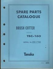 1988 & EARLIER TANAKA BRUSH CUTTER MODEL TBC-160 PARTS MANUAL