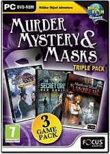 SHATTERED MINDS MASQUERADE Hidden Object MURDER MYSTERY MASKS 3 PACK PC Game NEW