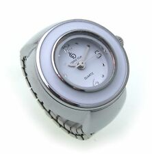 Ring watch sporty white silver plated Finger watch Quartzwerk Quality Ring Watch