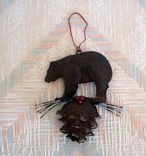 Bear Pine Cone Christmas String Ornament Metal Regal Art