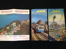 3 X VINTAGE SWITZERLAND BURGENSTOCK LUCERNE TRAVEL HOLIDAY LEAFLET