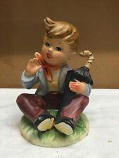 Vintage Enesco Hummel Look Alike Large Boy With Umbrella Figurine