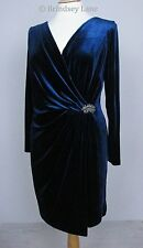 Jacques Vert Petite Dark Blue/Teal Velvet Dress ~ Size 18 ~ BNWT RRP £249
