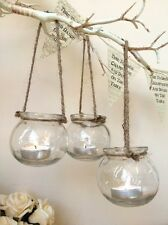 Set of 3 Clear Glass Hanging Tea Light Holders Candle Jar Lantern Wedding Decor