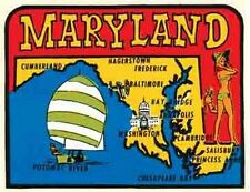Maryland   Pin-Up  MD     Vintage 1950's-Style   Travel Decal/Sticker