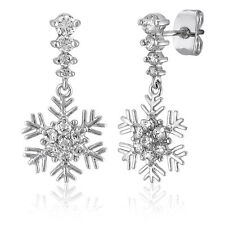 BERRICLE Sterling Silver CZ Snowflake Fashion Dangle Drop Earrings