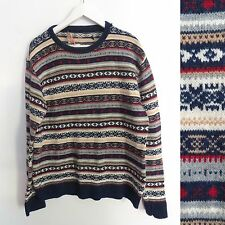Vintage 80s 90s colorful fair isle print knit sweater fits men's size MEDIUM