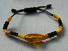 Amber Dominican Bracelet Republic Rock Stone Hand-Made Black & Yellow Adjustable