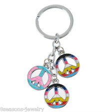 2016 Hot Lucky Gift Cute Colorful Peace Sign Popular Metal Key Chain Rings