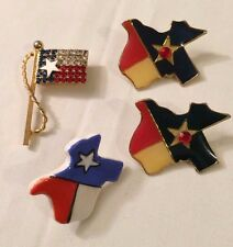 VINTAGE TEXAS STATE STAR RED WHITE BLUE ENAMEL GOLD-TONE Clip On EARRINGS 2 Pins