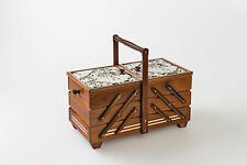 Xtra Large Wooden Sewing Box with pin cushioned lid mahogany stain 44cm