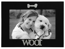 Dog Puppy Picture Frame WOOF 4 x 6 Black Lacquer Gift Box MALDEN Expressions