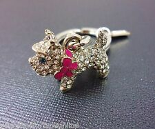 NEW COACH Pave Dog Scottie Westie Yorkshire Key chain ring fob Crystal Terrior