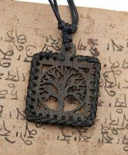 Collier Arbre de Vie-Celte-noir-bois-carre- Bijou ethnique pas cher - BB588-A20