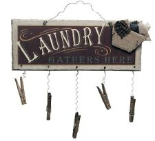 Clothespin Laundry Room Sign Wood Wall Art Bathroom Home Decor Wire Hanger New