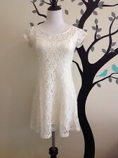 NEW Free People Cut Out Dress Ivory XS Skater Fit And Flare Micro Mini Sexy