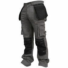 Mens Heavy Duty Cargo Pants Working Trousers Cordura Knee Holster Pockets Work
