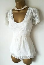 GOTHIC Ivory Sheer Lace Blouse 10 Victorian Vintage Romantic Steampunk