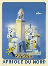 North Africa African by Airplane Vintage Travel Art Poster Advertisement