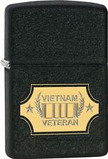 Zippo Vietnam Veteran Lazer Engraved To Show Brass Black Crackle Lighter 28875