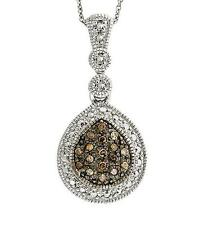 .925 Sterling Silver & Chocolate Brown Diamond Drop Pendant & Chain .17ct