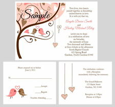 100 Personalized Pink Brown Love Tree Birds Hearts Wedding Invitations Set