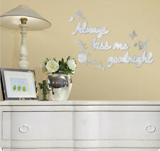 ALWAYS KISS ME GOODNIGHT MIRRORED wall stickers 12 mirror decals decor butterfly