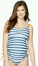 New Maternity Swimsuit Tankini Oh Baby By Motherhood 2 Piece Size XL $60 Blue