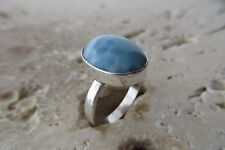 Size 6 1/2 Size M 1/2 Size 53, Blue Larimar Ring in solid Sterling Silver #0415