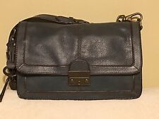 Fossil Vintage ReIssue VRI Slate Blue Leather Flap Chain Purse Messenger Bag