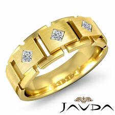 Block Link Band 18k Yellow Gold Princess Diamond Mens Wedding 8.6mm Ring 0.3Ct