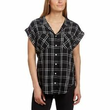 NEW Jachs Girlfriend Women's Cap Sleeve Button-Front Blouse Shirt Black Plaid XL