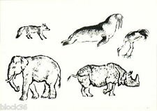 1966 Russian card ANIMALS: Fox Elephant Walrus Ostrich Rhinoceros by V.Lebedev