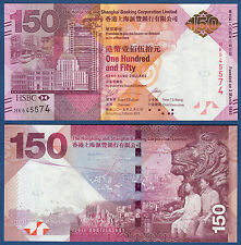HONGKONG / HONG KONG  150 Dollars 2015 HSBC (without Folder)  UNC  P. NEW