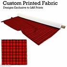 PLAID RED DESIGN PRINTED FABRIC LYCRA SATIN JERSEY SPANDEX FROM £15.99 PER METRE