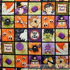 BonEful Fabric FQ Cotton Quilt Black Orange B&W Patchwork Block Halloween Square