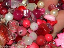 NEW 8/oz MIXED PINK'S LOOSE Beads Lot Gem, Stone, Czech Glass, pearls (USA!)